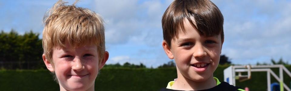 Alfie Whelan, Oisin McDonagh (both Menapians AC) U10 Bronze medal winners in the Long Jump Pairs at the National Juvenile Relay Champs