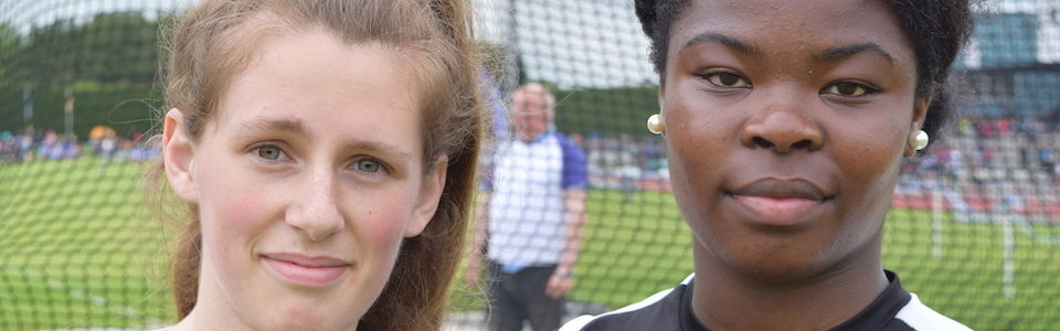 L-R Marguerite Furlong (St Mary's New Ross) Silver medalist in Senior Girls Discus and Lystus Ebosele (Coláiste Bríde Enniscorthy) winner of Senior Shot Putt and 5th in Discus REDUCED (cropped)