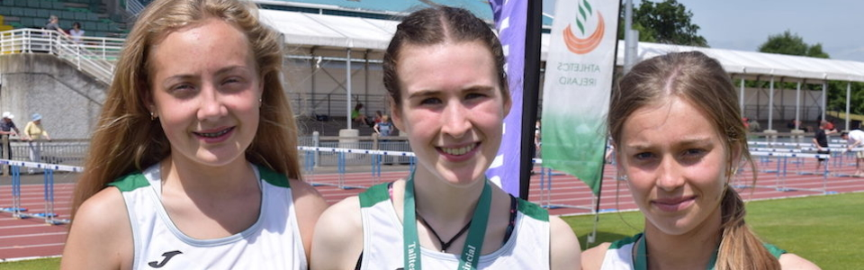 Loreto Wexford's three representatives on the Leinster team which competed at last weekend's Tailteann Games. L-R Maeve Hayes, Róisín O'Reilly, Aisling Kelly